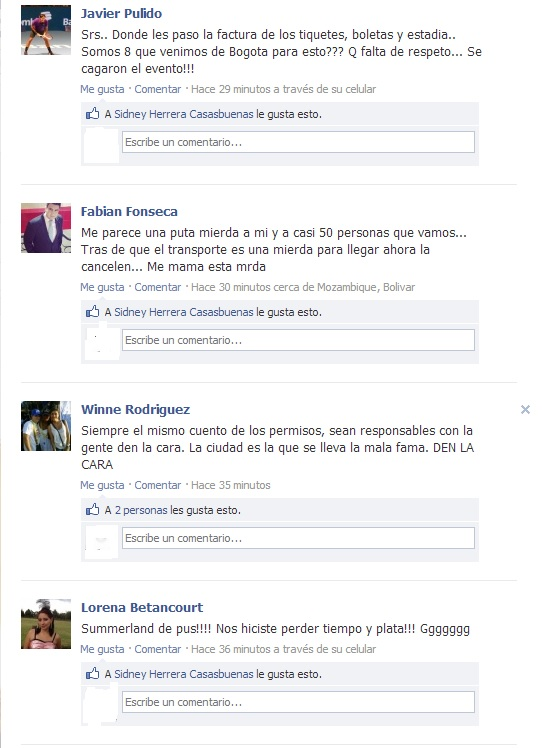 Cancelacion del Summerland Facebook